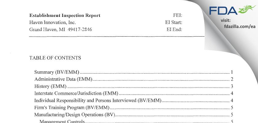 Haven Innovation FDA inspection 483 Mar 2014