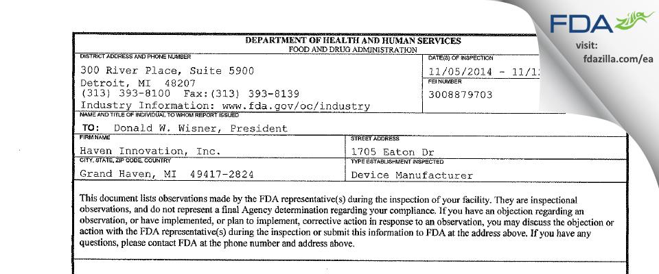 Haven Innovation FDA inspection 483 Nov 2014