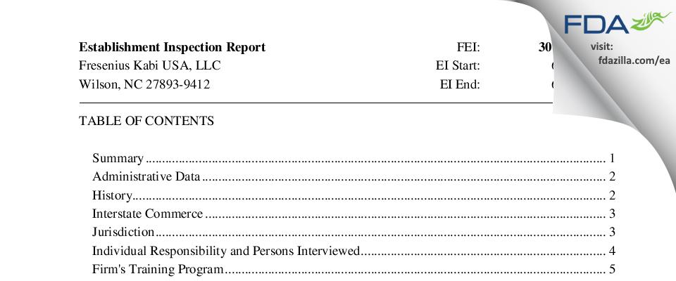 Fresenius Kabi USA FDA inspection 483 Jun 2016