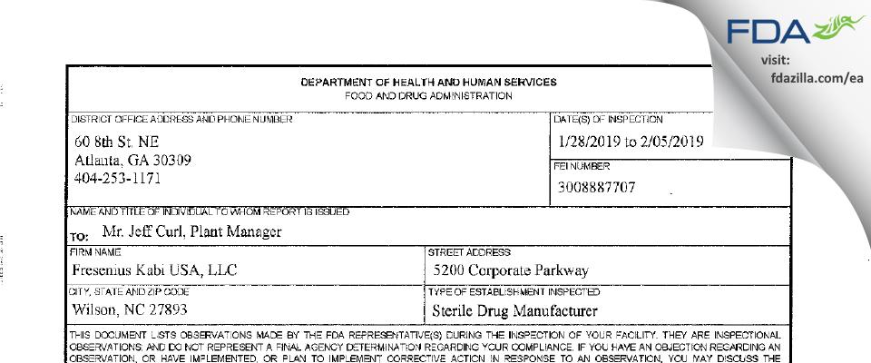 Fresenius Kabi USA FDA inspection 483 Feb 2019