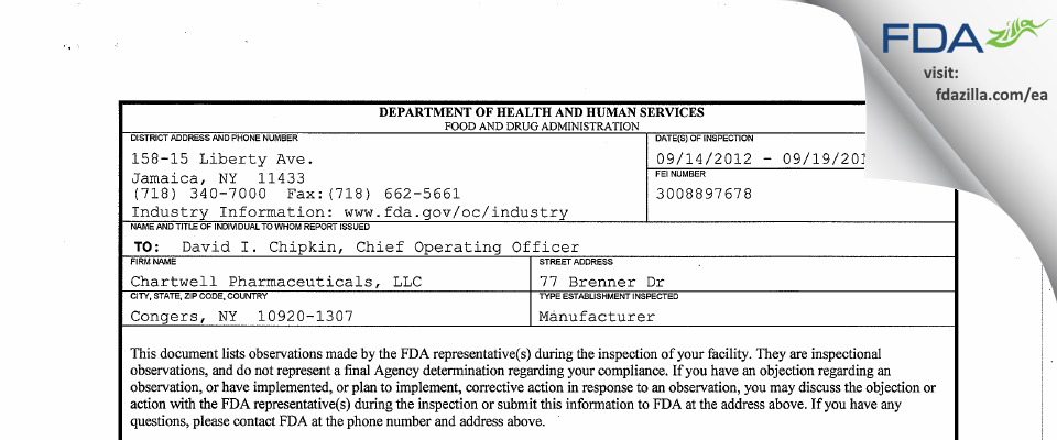 Chartwell Pharmaceuticals FDA inspection 483 Sep 2012