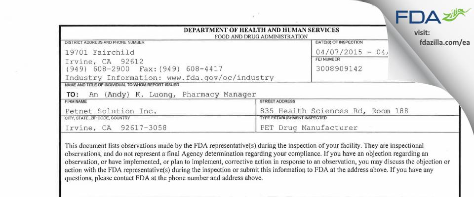 Petnet Solution FDA inspection 483 Apr 2015