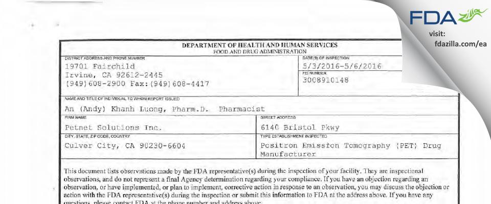 PETNET Solutions FDA inspection 483 May 2016