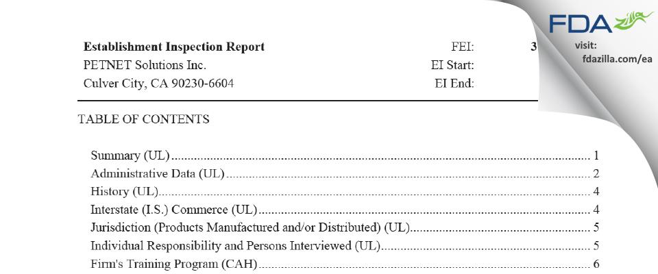PETNET Solutions FDA inspection 483 Jan 2020