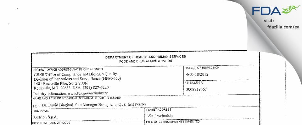 Kedrion Spa FDA inspection 483 Apr 2012