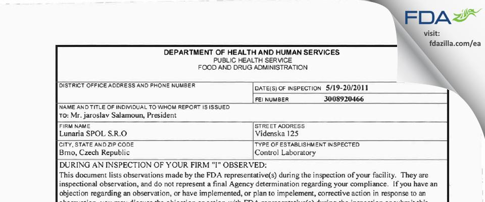 LUNARIA spol. s r.o. FDA inspection 483 May 2011