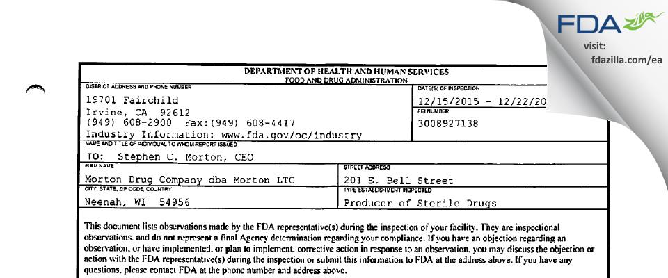 Morton Drug Company dba Morton LTC FDA inspection 483 Dec 2015