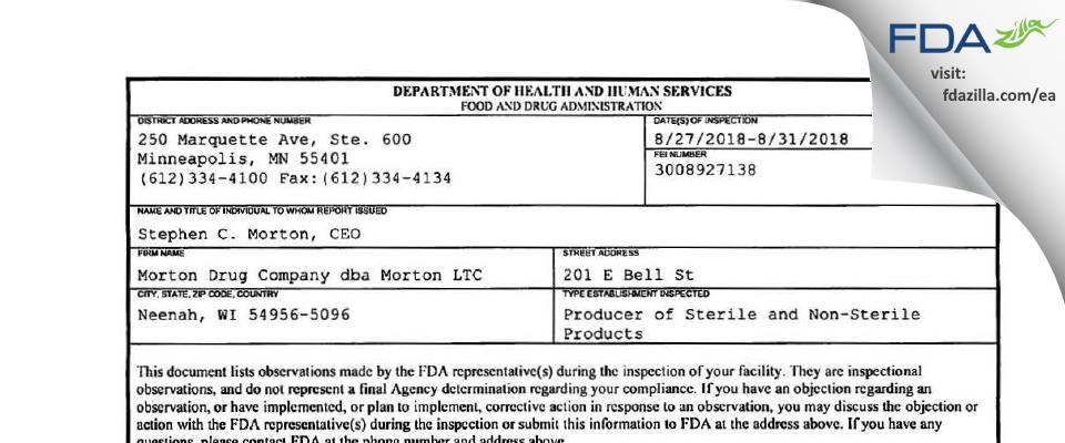 Morton Drug Company dba Morton LTC FDA inspection 483 Aug 2018