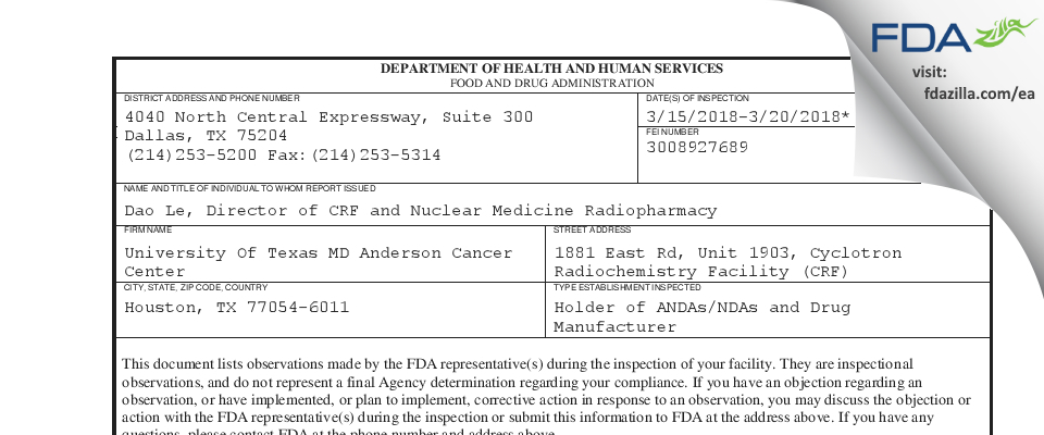 University Of Texas MD Anderson Cancer Center FDA inspection 483 Mar 2018