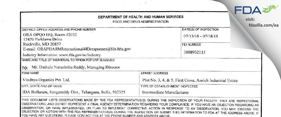 Vindhya Organics FDA inspection 483 Jul 2018