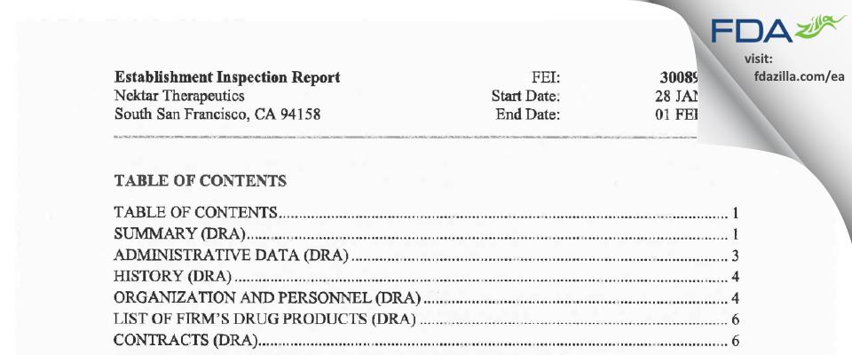 Nektar Therapeutics FDA inspection 483 Feb 2019