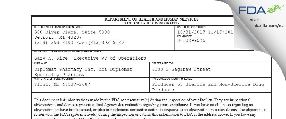 Diplomat Specialty Pharmacy FDA inspection 483 Nov 2017