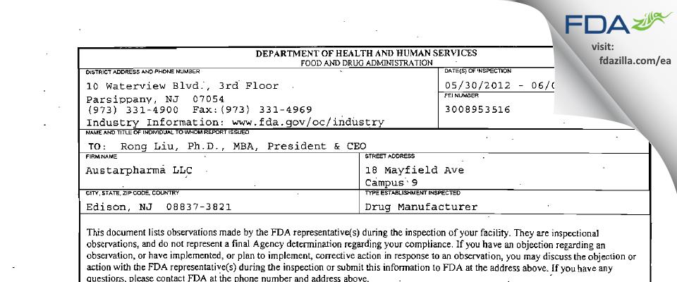 Austarpharma FDA inspection 483 Jun 2012