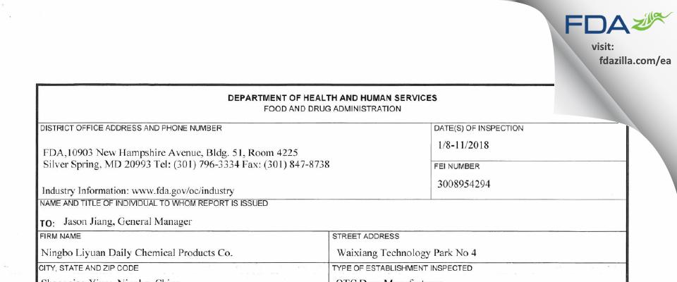 Ningbo Liyuan Daily Chemical Products FDA inspection 483 Jan 2018