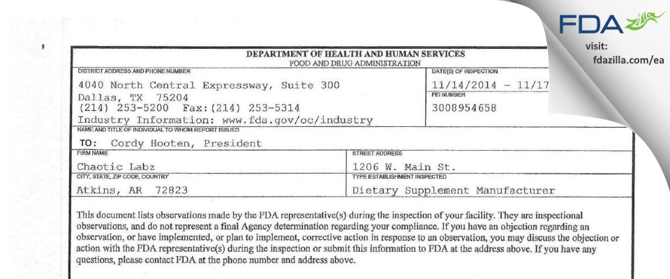 Bloodline Holdings FDA inspection 483 Nov 2014
