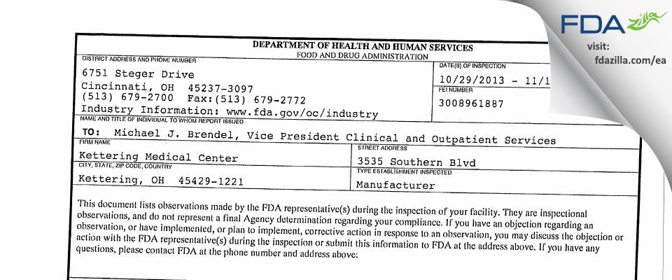 Kettering Medical Center FDA inspection 483 Nov 2013