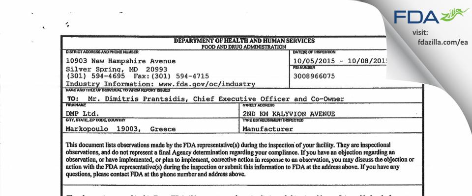 DMP Dental Industry FDA inspection 483 Oct 2015
