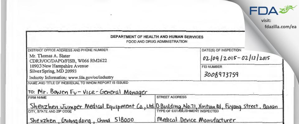 Shenzhen Jumper Medical Equipment FDA inspection 483 Feb 2015