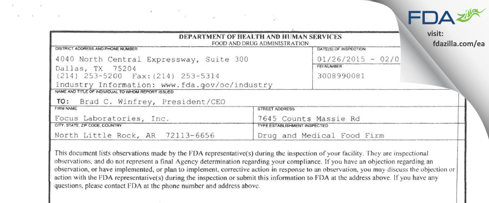 FOCUS Labs FDA inspection 483 Feb 2015