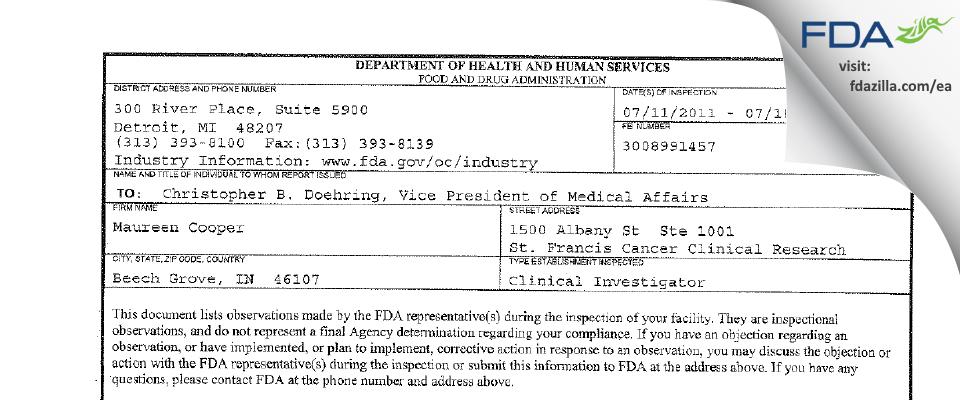 Maureen Cooper FDA inspection 483 Jul 2011