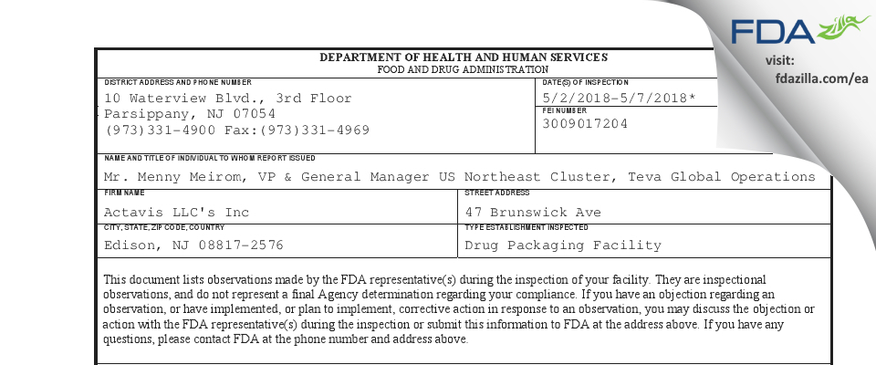 Actavis FDA inspection 483 May 2018