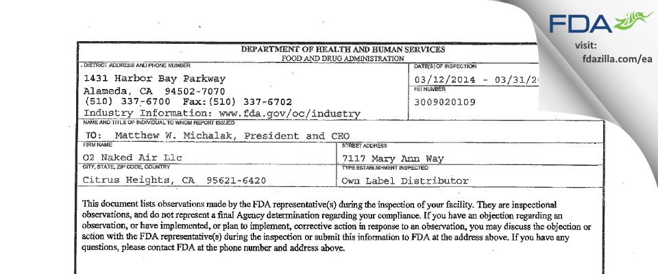 O2 Naked Air FDA inspection 483 Mar 2014
