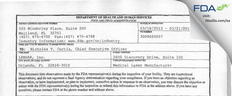 LENSAR FDA inspection 483 Mar 2013