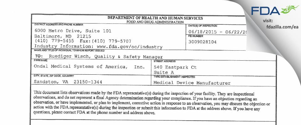 Ondal Medical Systems of America, FDA inspection 483 Jun 2015