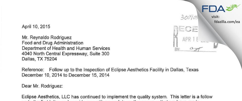 Eclipse Medcorp FDA inspection 483 Dec 2014