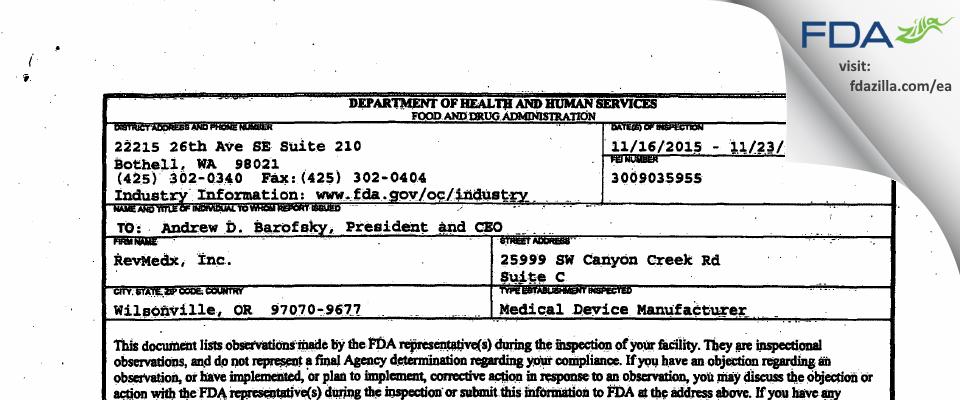RevMedx FDA inspection 483 Nov 2015
