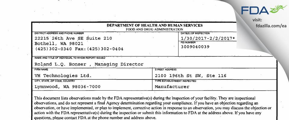 VH Technologies FDA inspection 483 Feb 2017