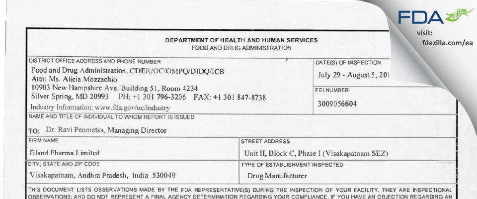 Gland Pharma FDA inspection 483 Aug 2013