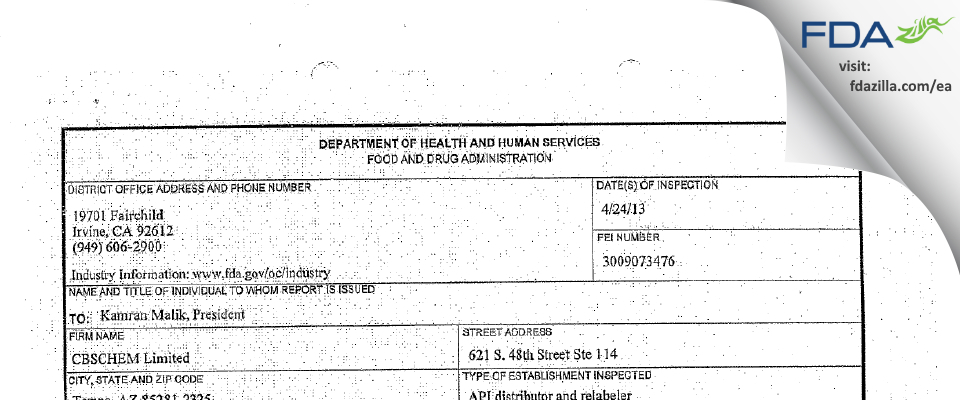 CBSCHEM FDA inspection 483 Apr 2013