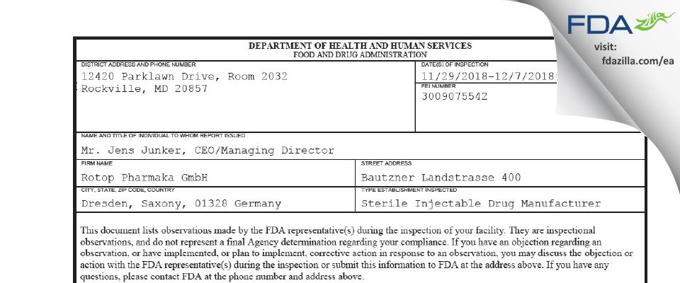Rotop Pharmaka FDA inspection 483 Dec 2018