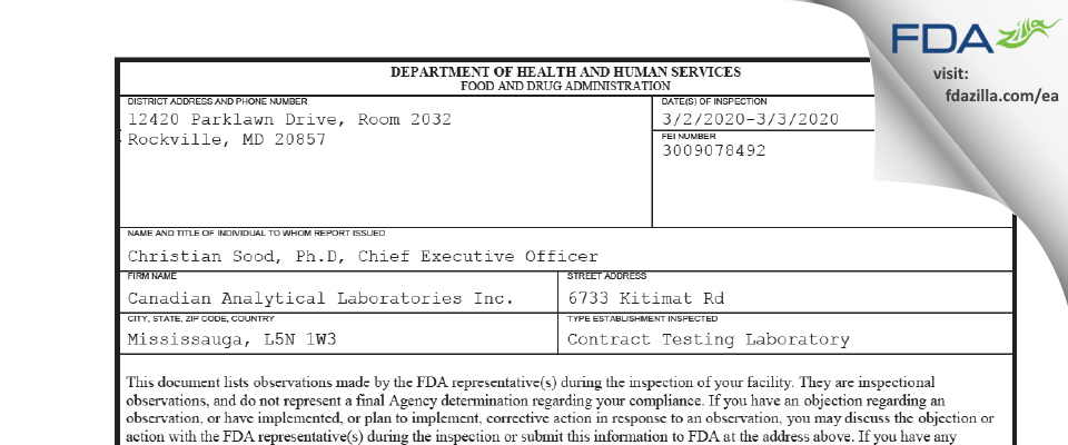 Canadian Analytical Labs FDA inspection 483 Mar 2020