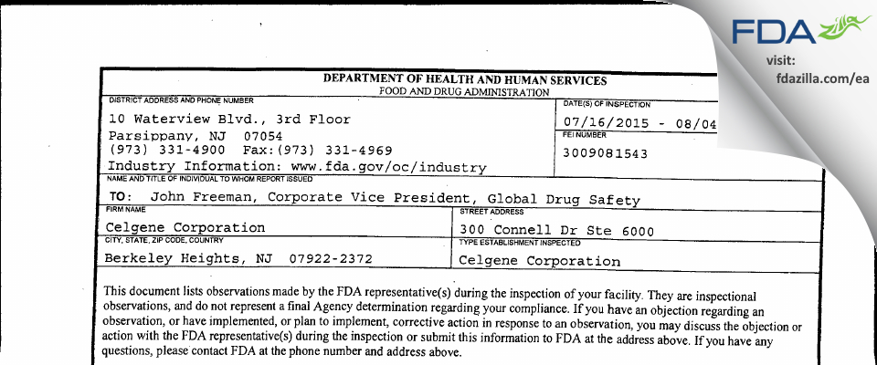 Celgene FDA inspection 483 Aug 2015