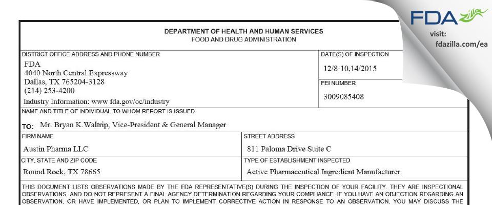 Austin Pharma FDA inspection 483 Dec 2015