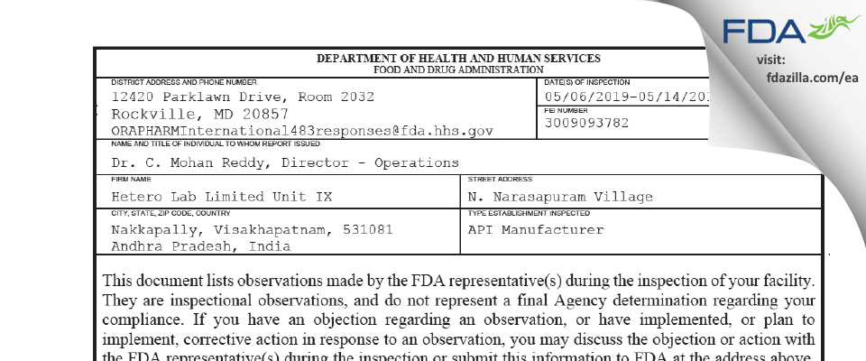Hetero Labs - Unit IX FDA inspection 483 May 2019