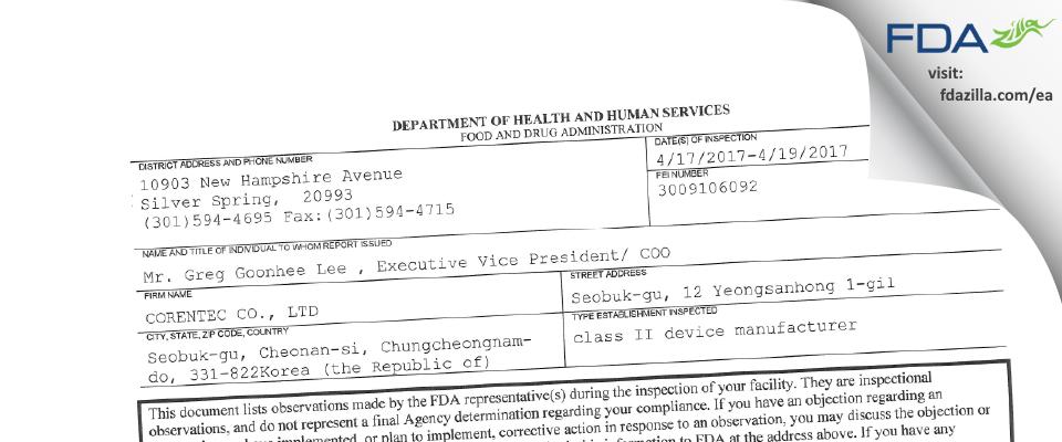 CORENTEC CO. FDA inspection 483 Apr 2017