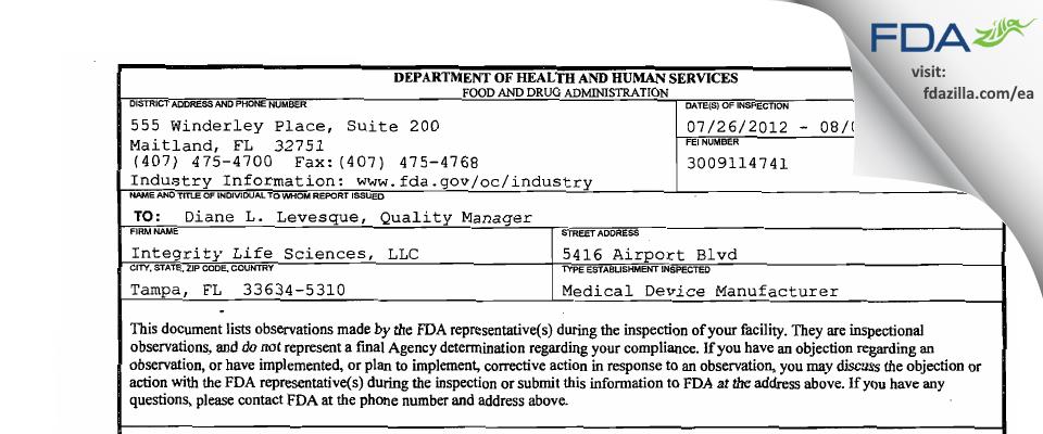 Integrity Life Sciences FDA inspection 483 Aug 2012