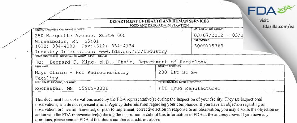 Mayo Clinic PET Radiochemistry Facility FDA inspection 483 Mar 2012