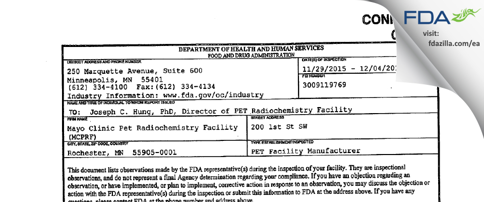 Mayo Clinic PET Radiochemistry Facility FDA inspection 483 Dec 2015