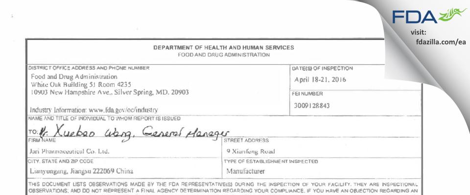 Jari PHarmaceutical FDA inspection 483 Apr 2016