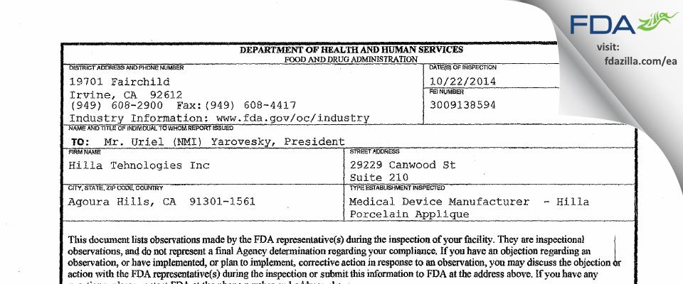 Hilla Tehnologies FDA inspection 483 Oct 2014
