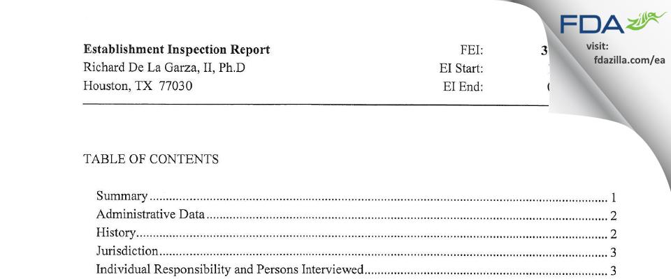 Richard De La Garza, II, Ph.D FDA inspection 483 Jan 2012