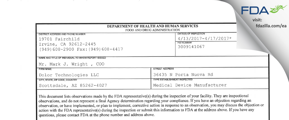 Dolor Technologies FDA inspection 483 Apr 2017