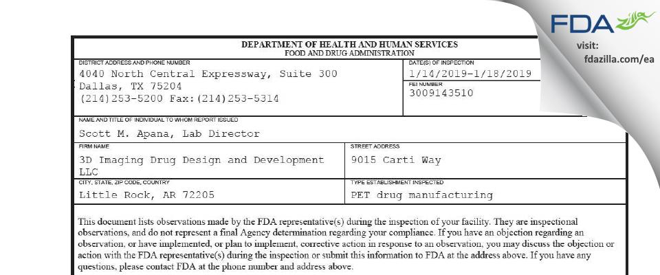 3D Imaging Drug Design and Development FDA inspection 483 Jan 2019