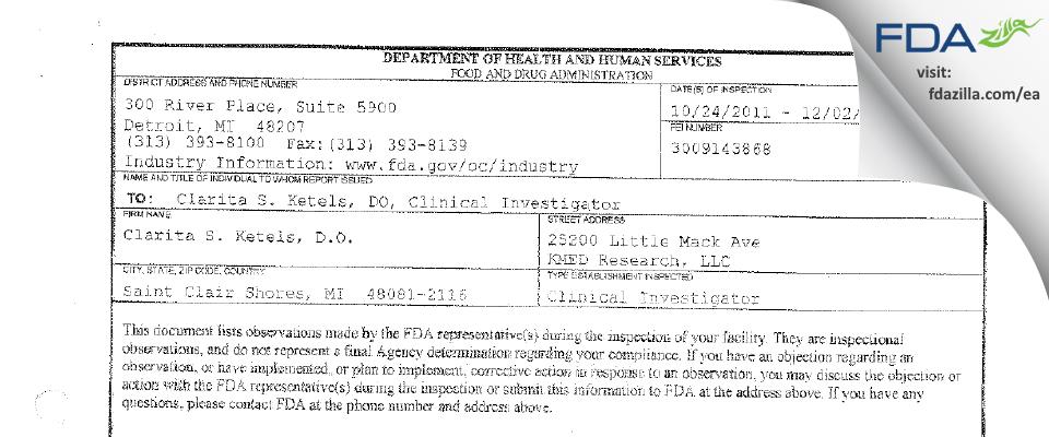 Clarita S. Ketels, D.O. FDA inspection 483 Dec 2011