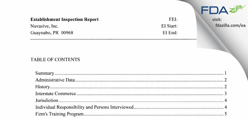 Nuvasive PR FDA inspection 483 Feb 2016