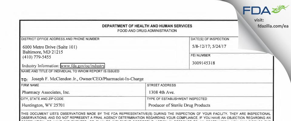 Pharmacy Associates  dba CompreCare Specialty Pharmacy FDA inspection 483 May 2017